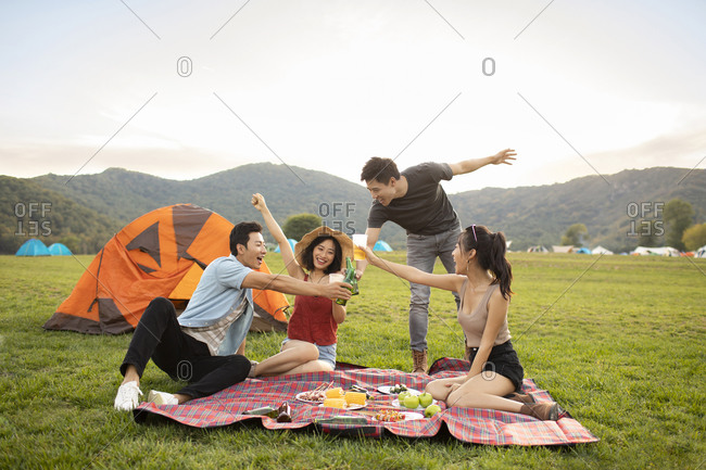 Happy young Chinese friends having a picnic outdoors
