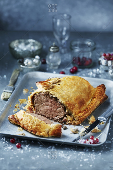 Beef wellington in roasting tin, seasonal christmas food