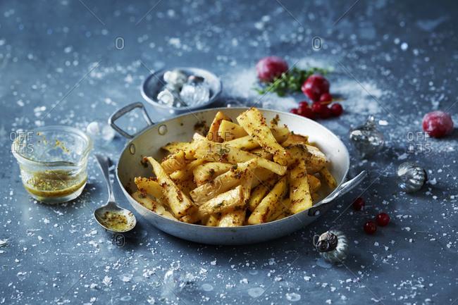 Roast parsnips in skillet, Christmas food