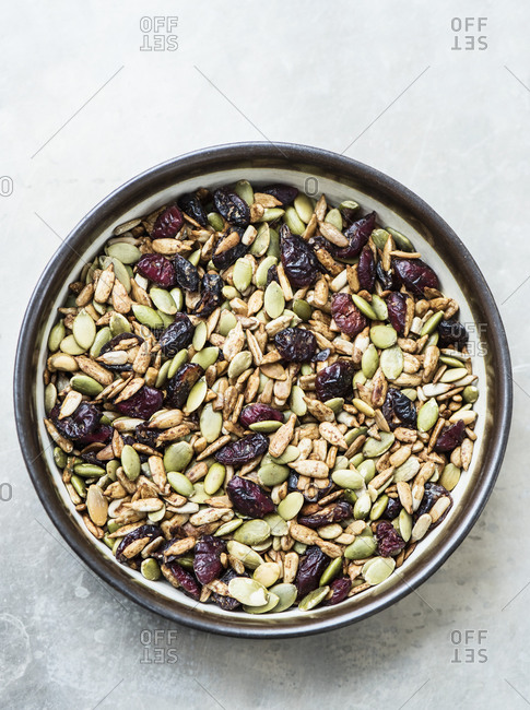 Variety of seeds and dried cranberries in bowl