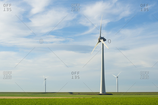 Modern wind turbines on and offshore, Creil, Flevoland, Netherlands