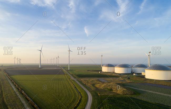 Wind turbines, Eemshaven harbour, Groningen, Netherlands