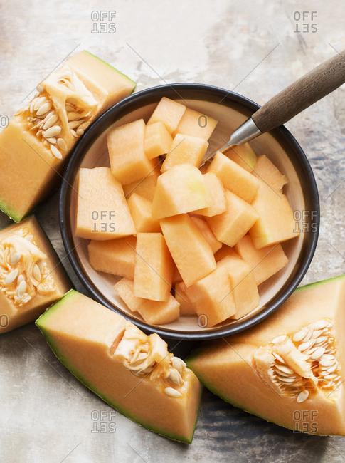 Cantaloupe melon pieces