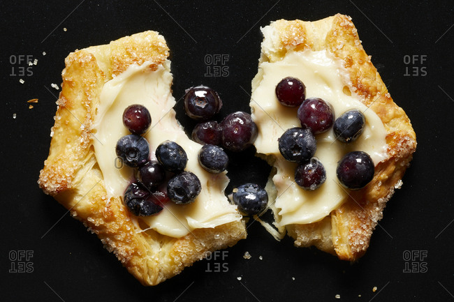 Blueberry galette, overhead view - Offset