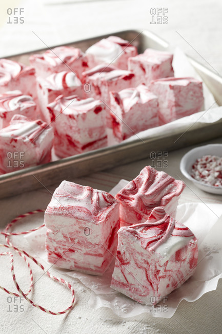 Homemade peppermint marshmallows with twine and wax paper