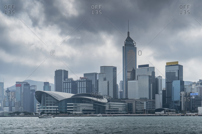 November 10, 2018: Buildings on Victoria Harbour, Hong Kong, China