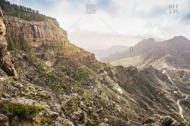 Mountainous landscape with rural road, high angle view, San Bartolome de Tirajana, Canary Islands, Spain