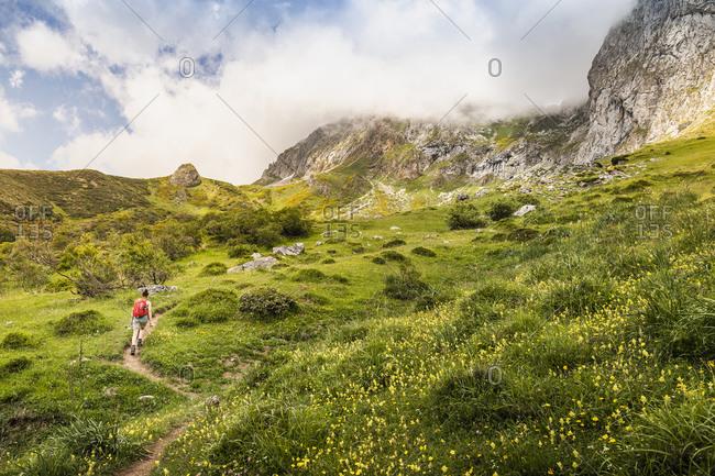 Hiker near Fuente De in national reserve Parque National de los Picos de Europa, Potes, Cantabria, Spain
