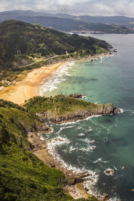 View from Oronoco Begiratokia (Talaia gailurra) onto Playa de Laga near Elantxobe, Bermeo, Basque Country, Spain