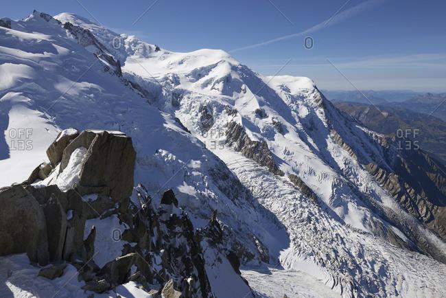 Snow-covered mountain range, Chamonix, Rhone-Alps, France