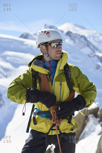 Portrait of mountain climber, Chamonix, Rhone-Alps, France
