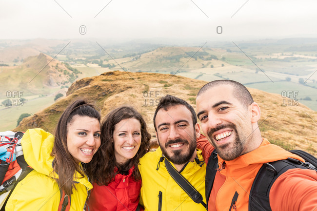 Portrait of hiker friends, Chrome Hill, Peak District, Derbyshire