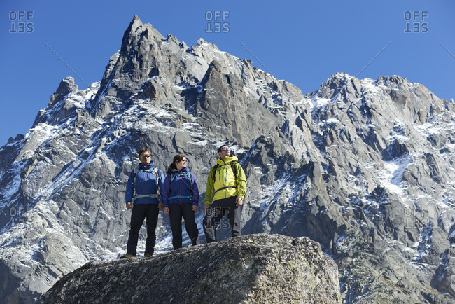 Mountain climbers enjoying view, Chamonix, Rhone-Alps, France