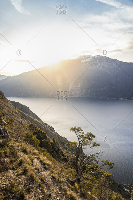 Sunrise over lake Garda from the western side above Limon sul Garda, Lombardia, Italy