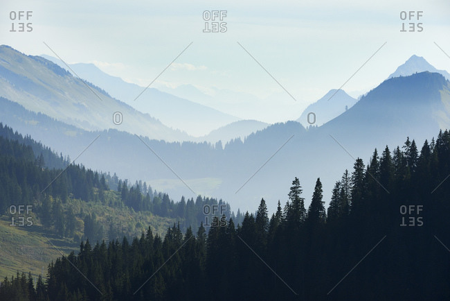 Mist over mountain ranges, Manigod, Rhone-Alpes, France