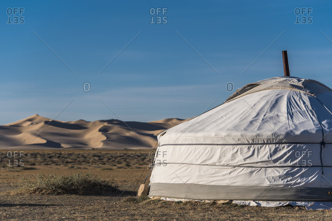 Ger or yurt camp, Gobi desert, Mongolia