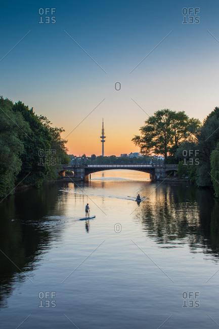 Water sports on Alster Lake, Hafen City, Hamburg, Germany