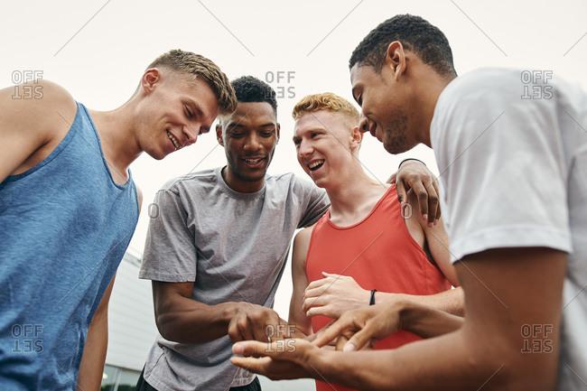 Athlete friends enjoying conversation