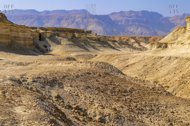 Eroded cliffs made of marl, Dead Sea region, Israel