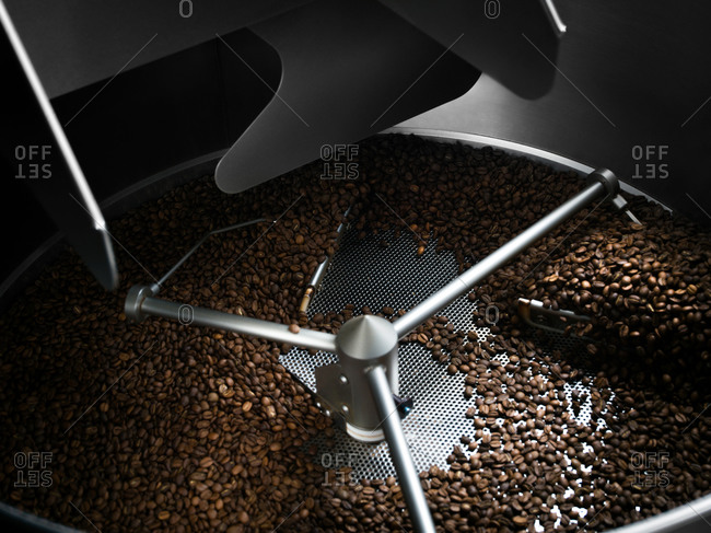 Roasted coffee beans in roaster