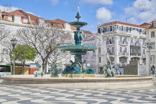 Lisbon, Portugal - March, 19, 2020: Rossio Square in Pombaline Downtown Lisbon