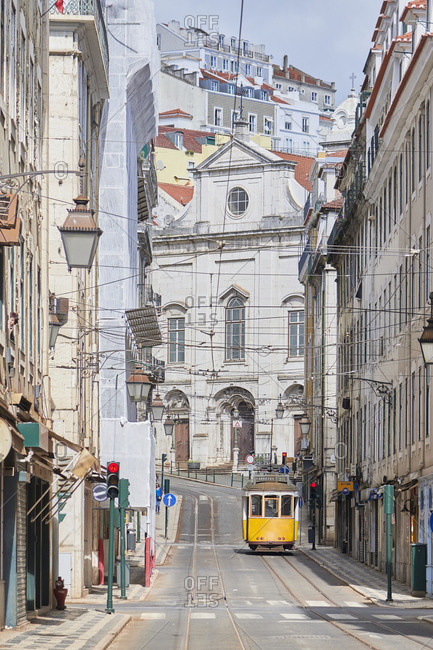 Lisbon, Portugal - March, 19, 2020: The rua da Conceicao in Lisbon during the pneumonia outbreak by the new Coronavirus
