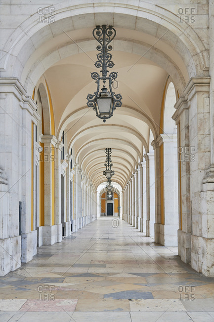 Covered walkway at the Praca Do Comercio, Lisbon, Portugal