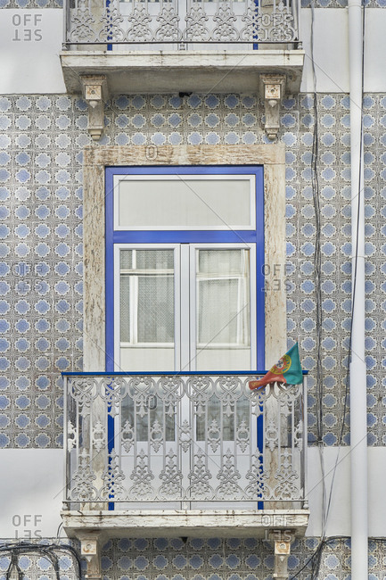 Blue tile exterior on a building in Lisbon, Portugal