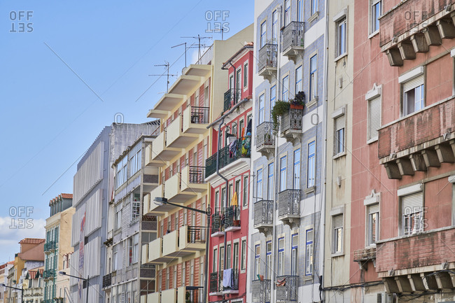Multicolored facades of apartments in the Arroios neighborhood in Lisbon