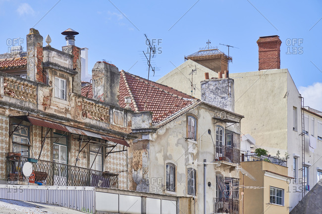 Old apartment buildings in Arroios neighborhood in Lisbon, Portugal