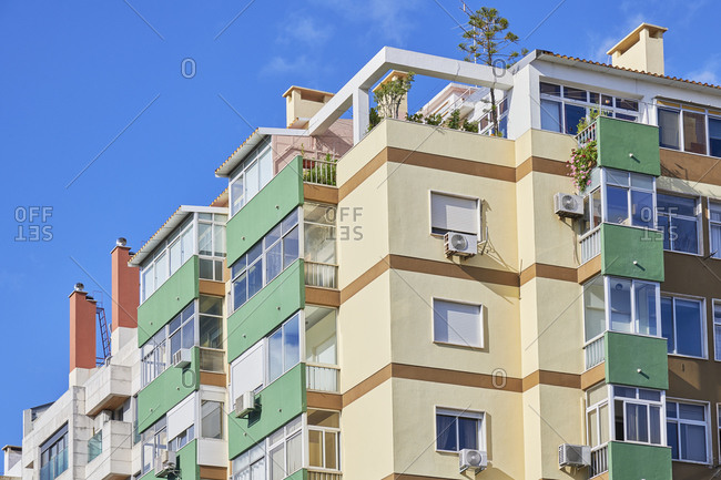 Multicolored facades of apartments in the Arroios neighborhood of Lisbon, Portugal