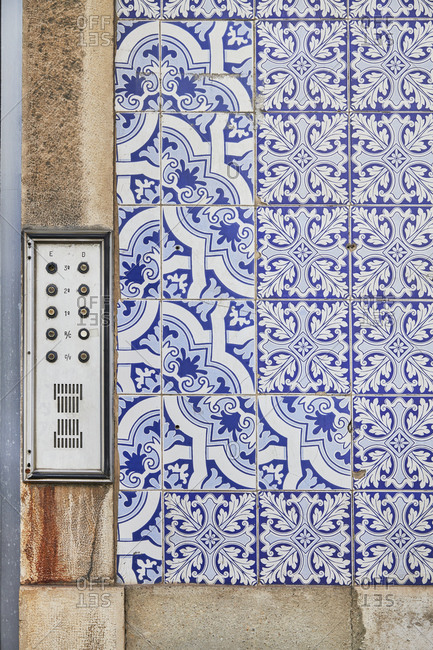 Close-Up Of Doorbells and decorative tiles, Lisbon, Portugal