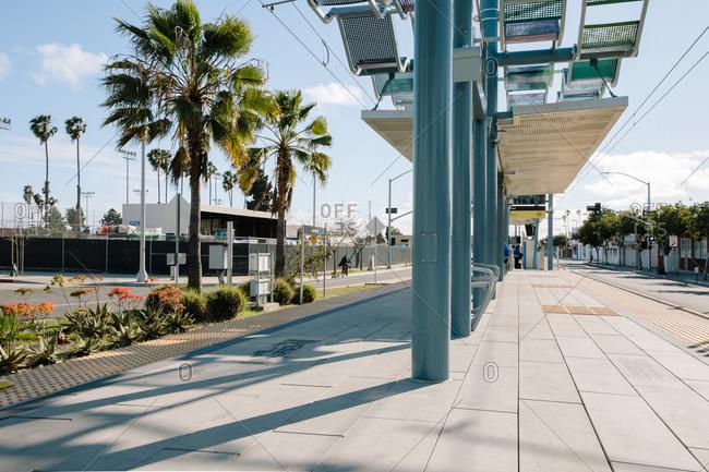 Santa Monica, California - March 25, 2020: Platform at the 17th Street/Santa Monica College