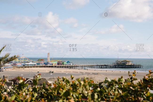 Santa Monica, California - March 25, 2020: View of the Santa Monica Pier