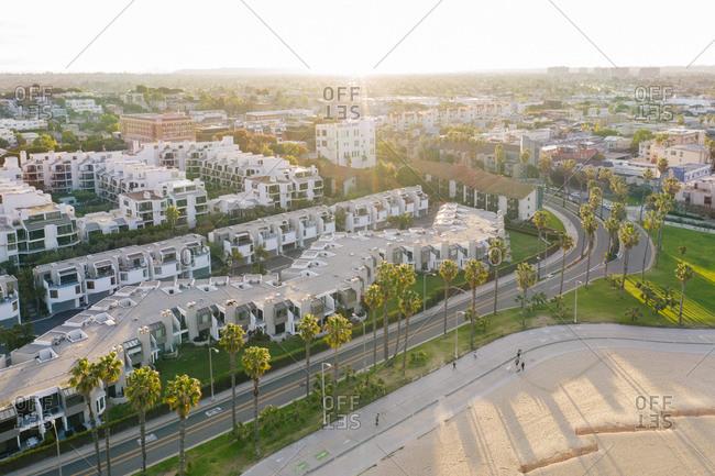 Aerial view over condos in Santa Monica, California