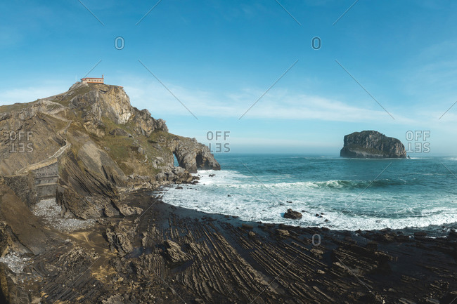 Panoramic view of San Juan de Gaztelugatxe (Basque Country, Spain)