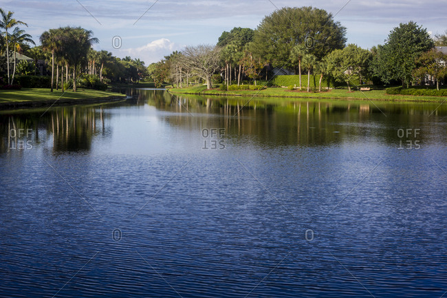 A calm lake in the Pelican Beach area of Naples, Florida.