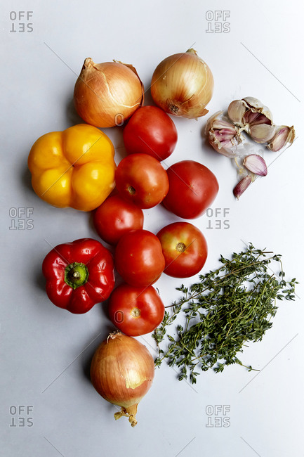 Fresh produce laid out on a kitchen counter,