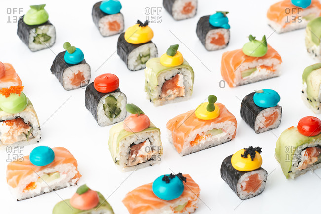 lunch a large set assortment of Japanese sushi rolls, delivery catering restaurant