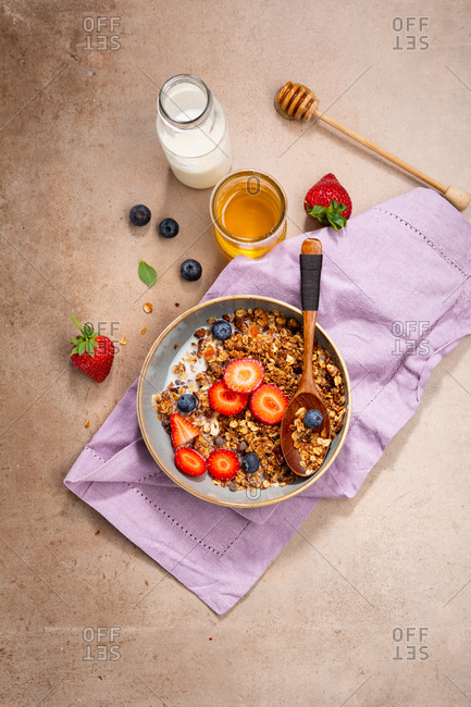 Overhead view of healthy breakfast in bowl