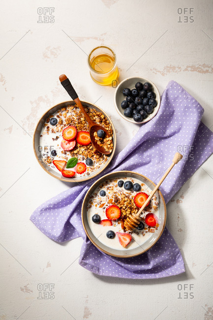 Overhead view of healthy breakfast bowls