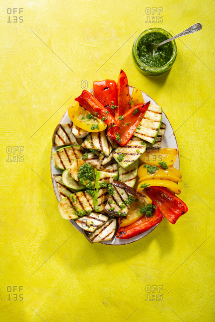 Overhead view of various grilled veggies