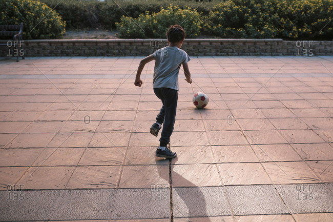 Boy playing with a soccer ball in a park