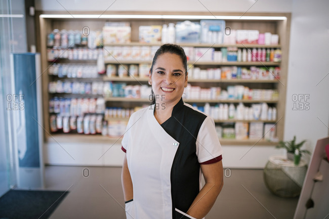 Portrait of a pharmaceutical woman in a pharmacy