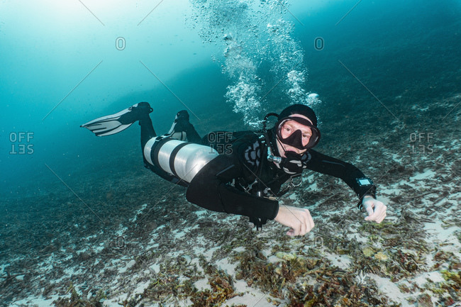 Underwater view diver using side mounted tanks, portrait,  Raja Ampat, Sorong, Nusa Tenggara Barat, Indonesia