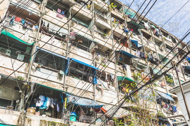 Dilapidated residential building, Bangkok, Thailand