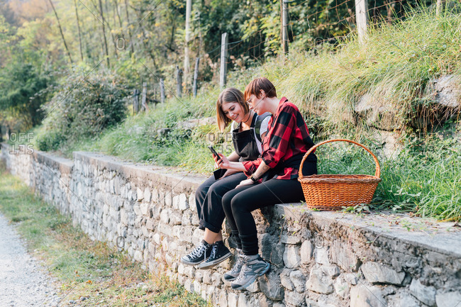 Best friends sitting on stone wall, sharing text message, Rezzago, Lombardy, Italy
