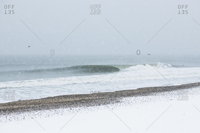 Ocean waves during winter snow