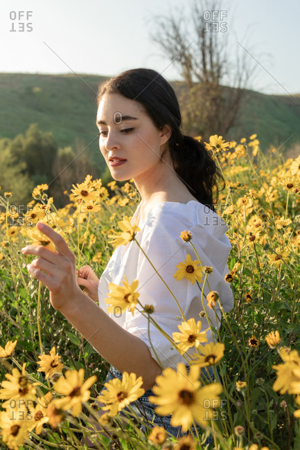 Pretty brunette holding flower in yellow flower fields and sunshine