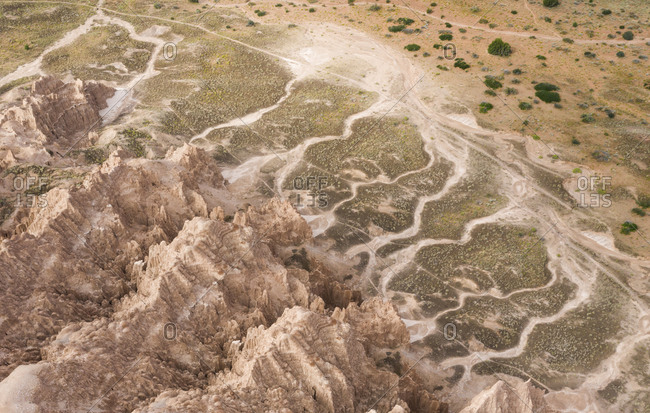 Catherdral Gorge Aerial with Swirling Erosion Lines